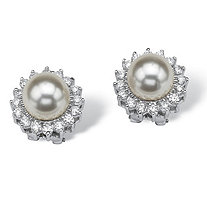 1.06 TCW Cubic Zirconia and Simulated Pearl Sterling Silver Button Earrings