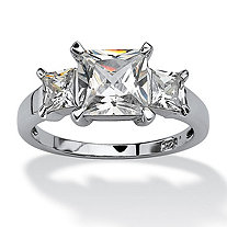 2.36 TCW Princess-Cut Cubic Zirconia Platinum over Sterling Silver 3-Stone Bridal Engagement Ring