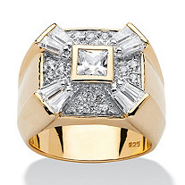 Men's 2.47 TCW Square Round Baguette Cubic Zirconia 18k Yellow Gold Over Sterling Silver Ring
