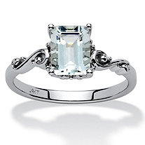 1.40 TCW Emerald-Cut Aquamarine Ring in 10k White Gold