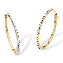 "Diamond Accent 14k Yellow Gold Diamond Fascination Hoop Earrings 1"" Diameter"