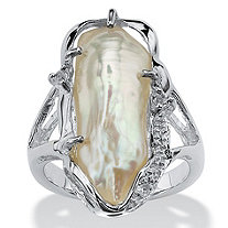 Cultured Freshwater Biwa Pearl with White Topaz Accents Sterling Silver Ring