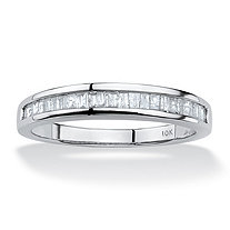 3/8 TCW Baguette Cut Diamond 10k White Gold Channel-Set Anniversary Ring or Wedding Band