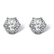 4 TCW Round Cubic Zirconia Stud Earrings in Platinum over Sterling Silver