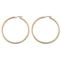 10k Yellow Gold Tubular Hoop Earrings 50 mm Diameter