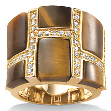 Tiger's-Eye 18k/SS Geometric Ring | Shop PalmBeach  & Save!