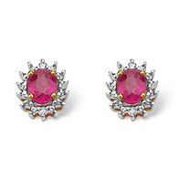 .70 TCW Oval-Cut Genuine Ruby with Diamond Accents 10k Yellow Gold Stud Earrings