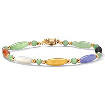 Multi-Color Jade 14k Yellow Gold Beaded and Barrel Shapes Bracelet 7 1/2""