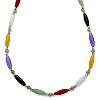 Multi-Color Genuine Jade 14k Yellow Gold Beaded and Barrel Shapes Link Necklace 18