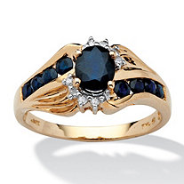 1.10 TCW Oval Cut Blue Genuine Sapphire and Diamond Accent 10k Yellow Gold Classic Ring
