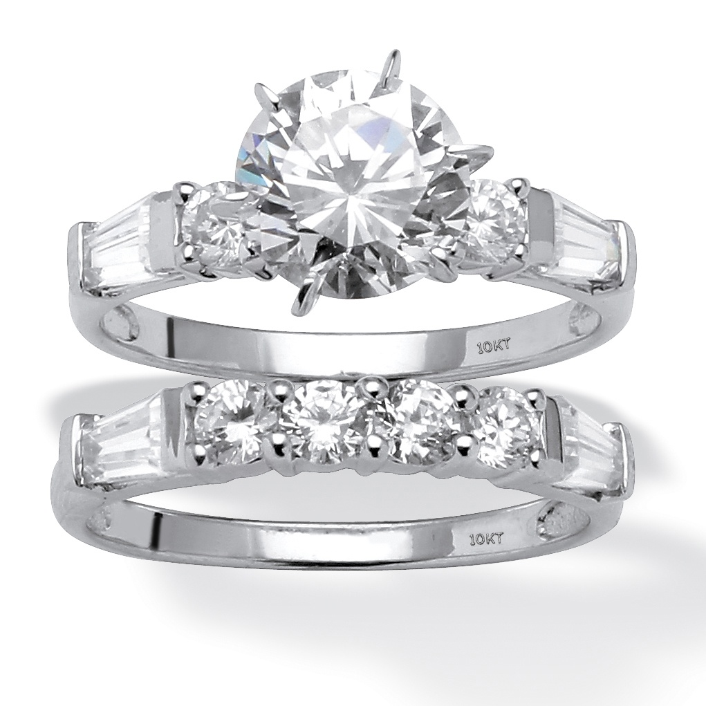 Palmbeach Jewelry 3 60 Tcw Cubic Zirconia Bridal Ring Set In 10K White Gold
