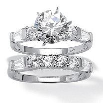 2 Piece 3.60 TCW Round Cubic Zirconia Bridal Ring Set in 10k White Gold