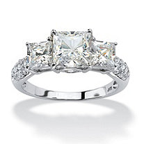3.06 TCW Princess-Cut Cubic Zirconia Ring in 10k White Gold