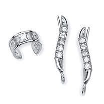 .33 TCW Round Cubic Zirconia Ear Pins and X and O Ear Cuff in Sterling Silver
