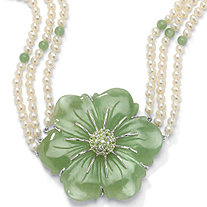 1.20 TCW Flower-Shaped Jade and Cultured Freshwater Pearl Sterling Silver Necklace 16""