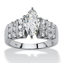 2.84 TCW Marquise-Cut and Round Cubic Zirconia Platinum over Sterling Silver Ring