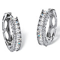 2.20 TCW Marquise-Cut Cubic Zirconia Platinum over Sterling Silver Hoop Earrings