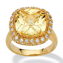 4.54-Carat Cushion-Cut Canary-Colored Cubic Zirconia 18k Yellow Gold over Sterling Silver Ring
