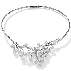 Pearl Silver Choker-Necklace 17