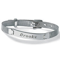Stainless Steel Mesh Personalized I.D. Name Bracelet 7 1/2""