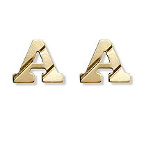 14k Yellow Gold Stud Initial Earrings