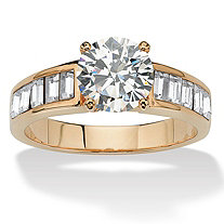 1.75 TCW Cubic Zirconia 14k Yellow Gold-Plated Engagement Anniversary Ring
