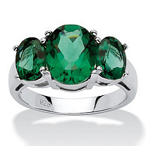 Oval Cut Green Crystal Mount St. Helens Inspired Ring in Sterling Silver