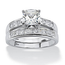1.94 TCW Princess-Cut Cubic Zirconia Platinum over Sterling Silver Bridal Engagement Ring Set