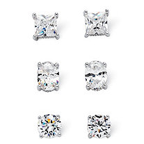 7.32 TCW Cubic Zirconia Platinum over Sterling Silver Stud 3-Pairs Earrings Set