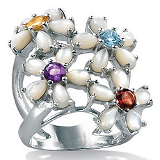 Mother-Of-Pearl SS Flower Ring | Shop PalmBeach  & Save!