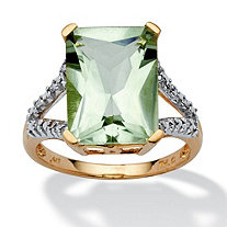 5.80-Carat Cushion-Emerald-Cut Genuine Green Amethyst 10k Yellow Gold Ring