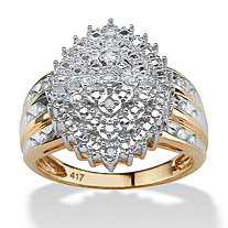 1/3 TCW Round Diamond 10k Yellow Gold Marquise-Shaped Cluster Ring