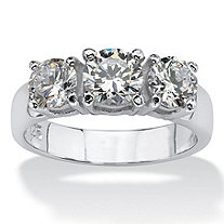 2.10 TCW Round Cubic Zirconia Sterling Silver 3-Stone Ring