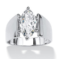 2.11 TCW Marquise-Cut Cubic Zirconia Sterling Silver Ring