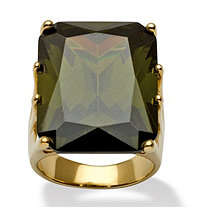 35.40 TCW Octagon-Cut Olivine Cubic Zirconia Ring in 18k Gold over Sterling Silver