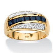 Men's 1.95 TCW Channel-Set Square-Cut Genuine Sapphire 18k Gold Over Sterling Silver Classic Ring