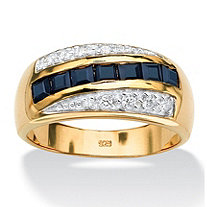 Men's 1.95 TCW Square-Cut Sapphire and Cubic Zirconia Ring in 18k Gold over Sterling Silver