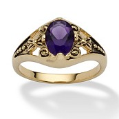 Oval Cut Simulated Birthstone 14k Yellow Gold-Plated Antique-Finish Ring