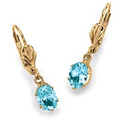 Oval-Cut Simulated Birthstone Drop 14k Yellow Gold-Plated Earrings