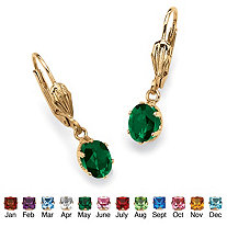 Oval-Cut Simulated Birthstone Drop Earrings in Yellow Gold Tone