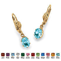 Oval-Cut Birthstone Drop Earrings in Yellow Gold Tone