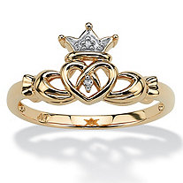 Diamond Accent 10k Yellow Gold Traditional Celtic Symbol Claddagh Ring