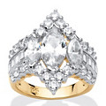 4.91 TCW Marquise-Cut Cubic Zirconia 18k Yellow Gold Over Sterling Silver Ring