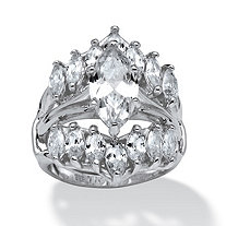 5.98 TCW Marquise-Cut Cubic Zirconia Sterling Silver Bridal Engagement Ring Set