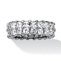 6.72 TCW Princess-Cut Cubic Zirconia Platinum Over Sterling Silver Double Row Eternity Ring