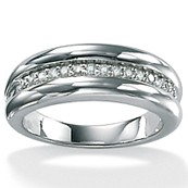 1/7 TCW Round Diamond Platinum Over Sterling Silver Anniversary Ring Wedding Band