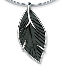 Onyx Silver Leaf Pendant | Shop PalmBeach  & Save! :  sterling silver designer jewelry pendant