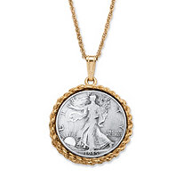 Genuine Half Dollar Pendant with Rope Chain in Yellow Gold Tone 24""