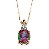6-Carat Oval-Cut Genuine Mystic Fire Topaz 10k Yellow Gold Solitaire Pendant and Chain 18""