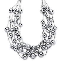 "Silvertone Beaded Collar Necklace Adjustable 17"" to 20"""